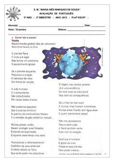 """E. M. """"MARIA INÊS MARQUES DE SOUZA"""" AVALIAÇÃO DE PORTUGUÊS 5º ANO - 2º BIMESTRE - ANO: 2012 - Profª KELRY - Aluno(a): ____..."""