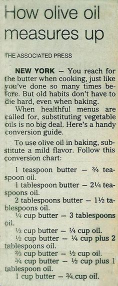 Olive Oil Conversion Chart (use instead of butter or margarine). I see nothing wrong with using olive oil in the paleo diet. You pick olives off the trees, you squash them and you get olive oil - that's paleo. Kitchen Helper, Food Facts, Baking Tips, Kitchen Hacks, Things To Know, No Cook Meals, Food For Thought, Good To Know, Helpful Hints