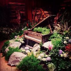 Complementing the piano water feature with it's beautiful harp as wall art for the Grammys Gift Lounge 2014