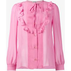 Miu Miu Ruffle Embellished Silk Blouse (34,830 PHP) ❤ liked on Polyvore featuring tops, blouses, pink top, flutter-sleeve top, pink silk blouse, button front blouse and ruffle top