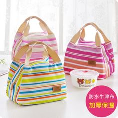 Multicolour Stripe Lunch Bag Thickening Oxford Fabric Waterproof Package Organizer Large Portable Heat Storage Bag