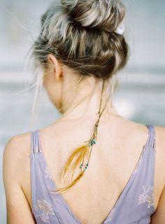 feathers & beads #topknot | http://amazingeyemakeuptips.blogspot.com