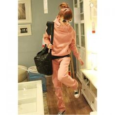 Casual Style Solid Color Hooded Top + Pants Women's Heavy Weight Sport Suit