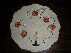 Vintage Halloween Ephemera ~ Dennison Haunted Candle & Jack O' Lantern's Doily