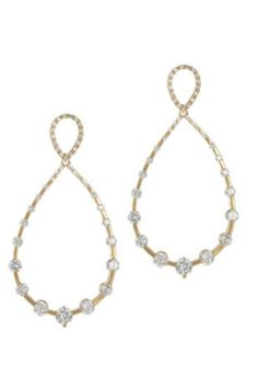 """Open tear drop earrings with individual set high quality cz diamonds. Gold Finish. High quality CZ Gold over brass post.    Measures: 2"""" diameter   Studded Teardrop Earrings by Theia Jewelry. Accessories - Jewelry - Earrings Dallas, Texas"""