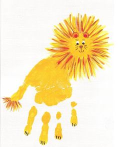 Creative Craft Ideas on Hand and Food print for Kids - DIY Tutorials - Handprint art - Daycare Crafts, Baby Crafts, Toddler Crafts, Kid Crafts, Alphabet Crafts, Letter A Crafts, L Is For Lion, Lion Craft, Lion And Lamb