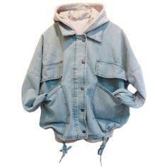 Light Blue Denim Coat with Detachable Hooded Tank (£57) ❤ liked on Polyvore featuring outerwear, coats, jackets, tops, leather-sleeve coats, oversized denim coat, denim coat, long sleeve coat and oversized coat