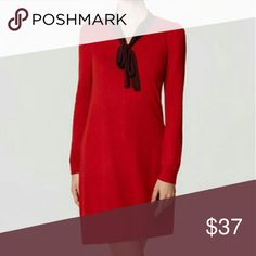 LoFT Vneck Sweater dress NWT Ann Taylor Loft V neck swing sweater dress from this seasom, Lovely Red color, cozy material and flattering cut. LOFT Dresses Midi