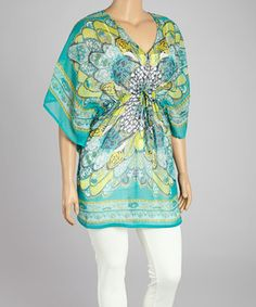 Look what I found on #zulily! Blue & Yellow Scarf Print Cape-Sleeve Tunic - Plus by CLUB Z #zulilyfinds