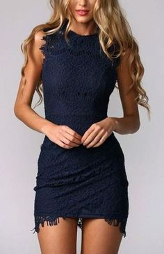 Party Outfit / Dress - Sexy Navy Lace LoLoBu - Women look, Fashion and Style Ideas and Inspiration, Dress and Skirt Look Pretty Dresses, Sexy Dresses, Beautiful Dresses, Fashion Dresses, Gorgeous Dress, Skin Tight Dresses, Fashion Clothes, Cheap Dresses, Vegas Dresses