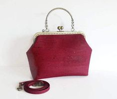 Burgundy Cork Handbag Vegan Bag Handmade Genuine Cork Purse