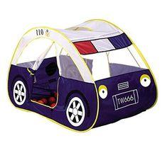 Zewik Kids Pop-Up Play Tent Children Cartoon Police Car Canopy Kids Adventure..