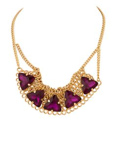 Gold Plated Purple Stone Chain Necklace