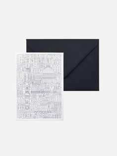 New designers at Ink & Thread. Introducing The City Works. Greetings Card Charcoal St Pauls London