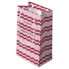 Pink Waves Sweet Celebrations Custom Gift bag - diy cyo customize create your own personalize