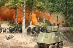 That's Oklahoma D-Day, the largest paintball battle in the world. (And yes, that's a paintball tank.)