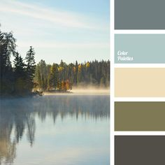 Natural combination of hazy shades: blue, green, brown, and creamy yellow. This color scheme is good for the exterior of country houses, villas and urban apartment balconies. Landscapes painted in soft colors will organically complement the interior of even the strictest working cabinet.