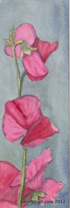 Sweet Pea watercolor bookmark