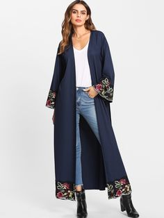 SheIn offers Flower Embroidered Hidden Pocket Detail Belted Abaya & more to fit your fashionable needs. Abaya Fashion, Muslim Fashion, Kimono Fashion, Boho Fashion, Fashion Dresses, Womens Fashion, Abaya Mode, Mode Hijab, Stylish Work Outfits