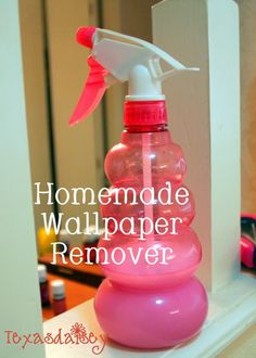 Homemade Wallpaper Remover Recipe Recipe for homemade wallpaper remover and instructions to remove it. Easiest way to get that wallpaper down<br> Learn a recipe for homemade wallpaper remover that makes removing wallpaper much easier. Remove Wallpaper Borders, Removing Old Wallpaper, How To Remove Wallpaper, Easy Wallpaper, Wallpaper Ideas, Wallpaper Removal Solution, Wallpaper Remover, Bathroom Wallpaper Removal, Diy Interior