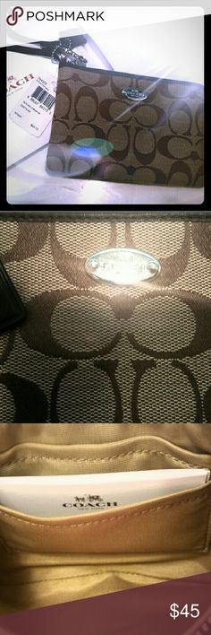 SOLD SOLD SOLD-Coach wristlet Brand new-never used tan & brown COACH wristlet Coach Bags Clutches & Wristlets