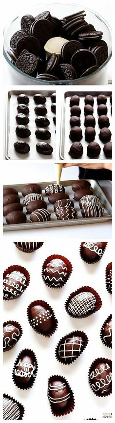 Easter Egg Oreo Truffles -- these delicious treats are made easy with just 4 ingredients. Use a family sized bag of Oreos. If not using for Easter a tablespoon sized truffle would be perfect to dip. Holiday Desserts, Holiday Baking, Holiday Treats, Holiday Recipes, Easter Desserts, Easy Easter Deserts, Party Desserts, Easter Recipes, Dessert Recipes