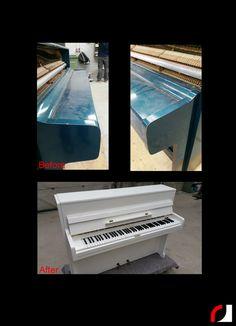 Blauwe piano hoogglans wit gespoten!  Voor foto's van voorgaande projecten: https://www.facebook.com/media/set/?set=a.280165378783411.1073741826.153004578166159&type=3  #Spuiterij #meubelspuiterij #interieurspuiterij #Parkstad #Kerkrade #Limburg #Heuvelland #witwonen #Piano #Spuiten #Verven #Interieur #Meubels #Instrumenten #restylen #renoveren