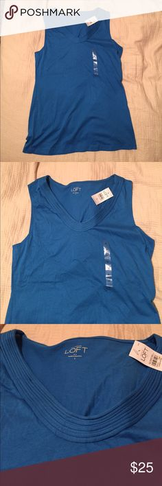 Simple chic blue sleeveless top Simple chic blue sleeveless top from Loft. Brand new never worn!! Goes great with white pants or can also be great for work under a blazer with slacks or a skirt!! 60% cotton LOFT Tops Blouses