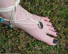 Turquoise Barefoot Sandals BohosandalsGypsy Sandal by HOBIHOLIK