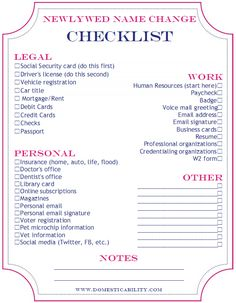 Free Printable Name Change Checklist #Wedding Things To Do After ...