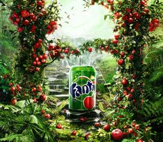 Fanta Red Apple by Ahmed Coutry | Fanta Oasis created in the background;  an Adam and Eve, the 'forbidden fruit' concept.