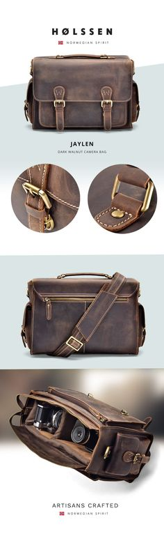 Our Holssen Jaylen Camera bag is for the photographers that want more than just a camera bag. Our Jaylen, made from top grain leather, offers style with its classic design, protection with its thick cushion walls, and plenty of space for your camera and accessories with the main compartment and extra pockets.