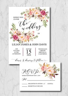 Blush Wedding Invitation Suite Template, Rustic Wedding Invitation Printable, Floral Wedding Invitation Instant Download, 015