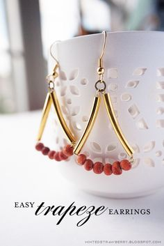 Diy Jewelry Ideas : Red wooden beads and golden bugle beads dangle earrings Wire Wrapped Jewelry, Wire Jewelry, Jewelry Crafts, Beaded Jewelry, Jewelery, Jewelry Ideas, Silver Jewelry, Earrings Handmade, Handmade Jewelry