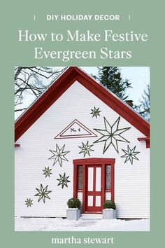 Decorate the outside of your home with these beautiful evergreen stars that are so simple to make and will easily add some holiday cheer to your home. Follow our step-by-step tutorial for this Christmas craft. #marthastewart #christmas #diychristmas #diy #diycrafts #crafts