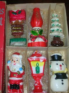 Vintage Christmas candle assortment.