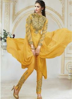 Arresting Yellow Pure Georgette heavy Embroidery Pakistani Suit
