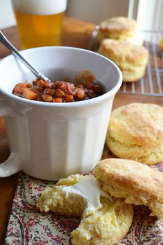 Spicy chili w/ cornmeal biscuits (from The View from Great Island)