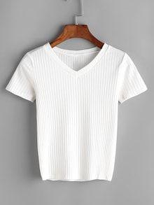 Shop Off White V-cut Ribbed Tshirt online. SHEIN offers Off White V-cut Ribbed Tshirt & more to fit your fashionable needs. Look Fashion, Fashion Outfits, Fashion Black, Fashion Ideas, Latest T Shirt, Mode Streetwear, White V Necks, V Cuts, T Shirts For Women