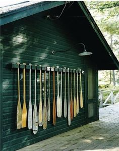 boat house/sauna/cabin oars decor