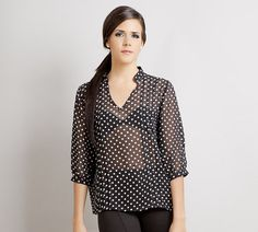 Stella Polka dot Pleat blouse shirt top black by stylemadehere, $64.99