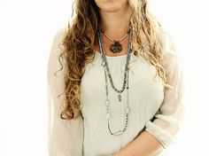 Labradorite Necklace with Bali Silver Pendant - A Bohemian Hippie Necklace for Layering on Etsy, $140.00