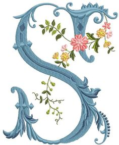 alfabeto celeste con flores S