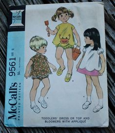 McCall 9561 1960s 60s Toddler's Playsuit Romper Bloomers Vintage Sewing Pattern ChildSize 2 by EleanorMeriwether on Etsy