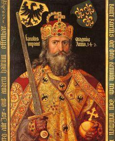 Carlos I el Grande, llamado Carlomagno, fue rey de los francos desde 768 hasta su muerte, rey nominal de los lombardos y emperador de Occidente. Hijo del rey Pipino y de Bertrada de Laon.