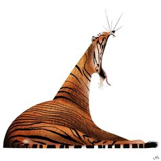 15 ideas for funny ilustrations animals Tiger Illustration, Character Illustration, Digital Illustration, Animal Illustrations, Animal Drawings, Art Drawings, Drawing Art, Grafik Design, Creature Design