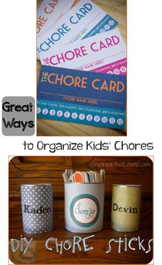 Great Ways to Organize Kids' Chores. Creative different ways to organize chores and get kids to work!  Fun chore chart designs and other systems that work for kids