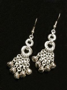 Handmade Jingle Bell Chain Maille Earrings Just by FreyaChainWorx, $25.00