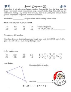 math worksheet : christmas math worksheet  santa s route  mrs spurling  middle  : Level 2 Maths Worksheets