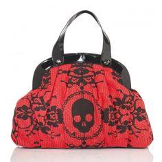 Red skull purse
